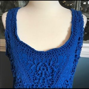 XL Bright Blue Loose Fitting Crocheted Tank Top